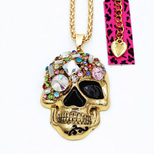 Betsey-Johnson-Enamel-Crystal-Big-Skull-Head-Pendant-Sweater-Chain-Necklace