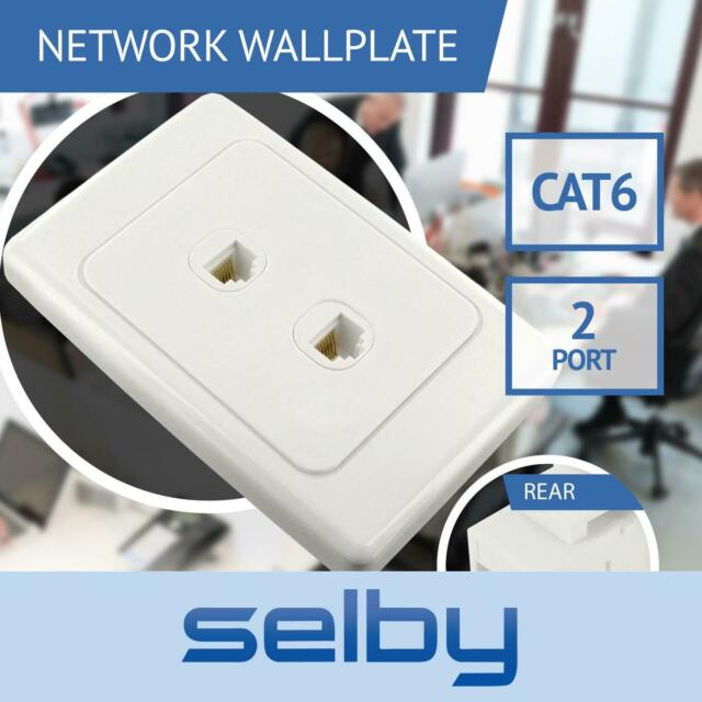 Network Wall Plate 2 Port Gang for CAT6 LAN RJ45 8P8C Cable Plug to Plug
