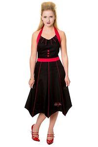 LAST-ONE-RED-amp-BLACK-BAT-HALTER-DRESS-S-10-GOTH-PUNK-GOTHIC-EMO-HALLOWEEN