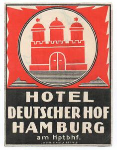 Danischer Hof Hotel Luggage Label Hamburg Germany Advertising Collectibles