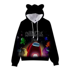 Game Among us Hoodie Kids Cat Ear Hooded Sweatshirt Pullover