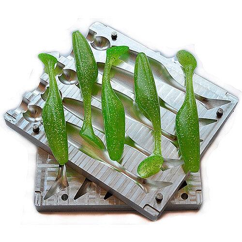 Hágalo usted mismo CNC Aluminio Plástico Suave Señuelo Cochenada Molde 5 cavidad V173 4 pulgadas \ 100 mm