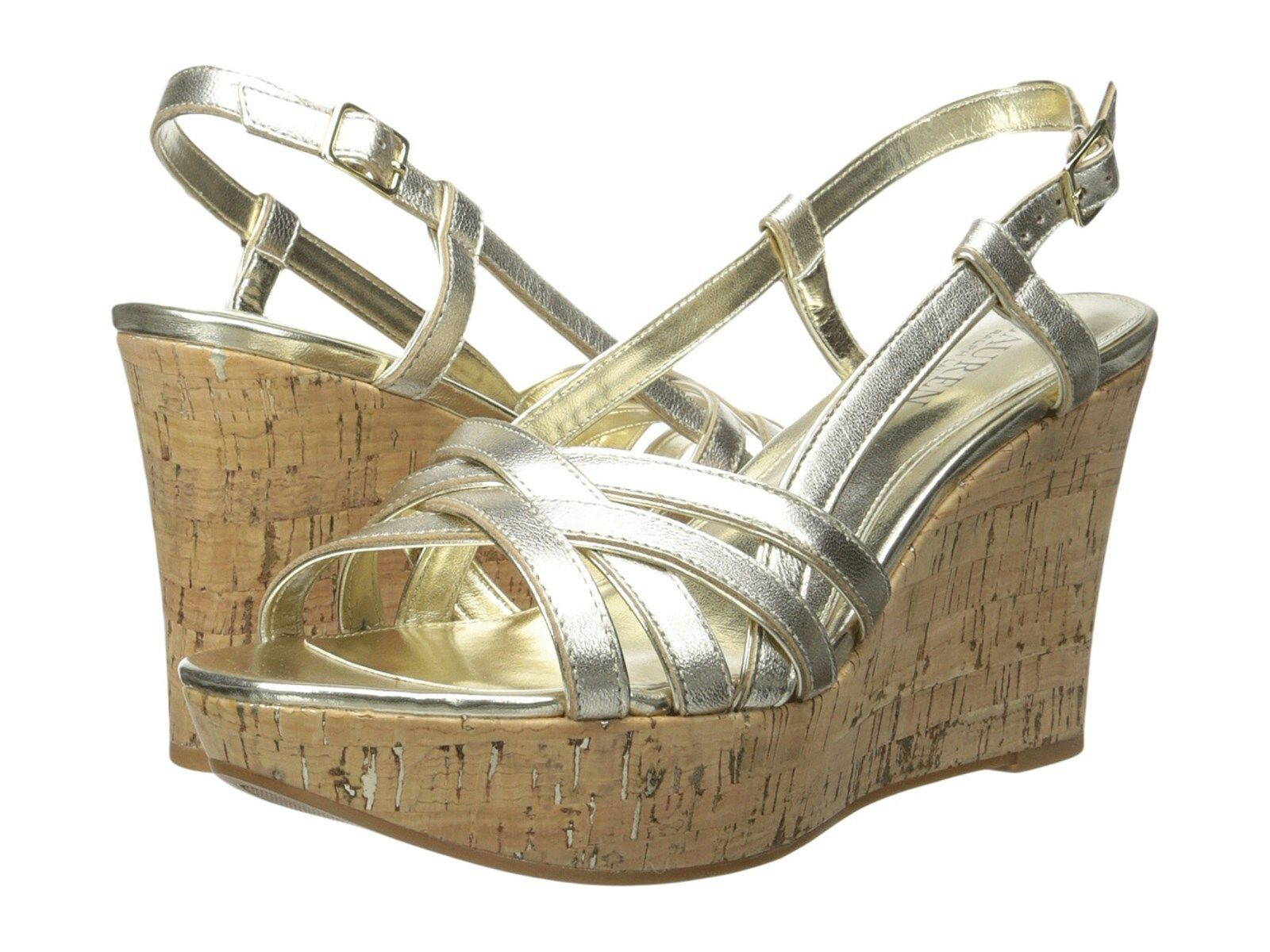 RALPH LAUREN QUAYLIN PLATINO METALLIC WEDGE SANDAL Schuhe MULTISIZES AS292