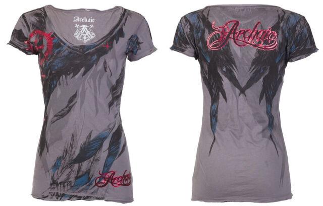 Archaic AFFLICTION Womens T-Shirt LOVE Feathers Tattoo Biker Sinful S-XL $40 a