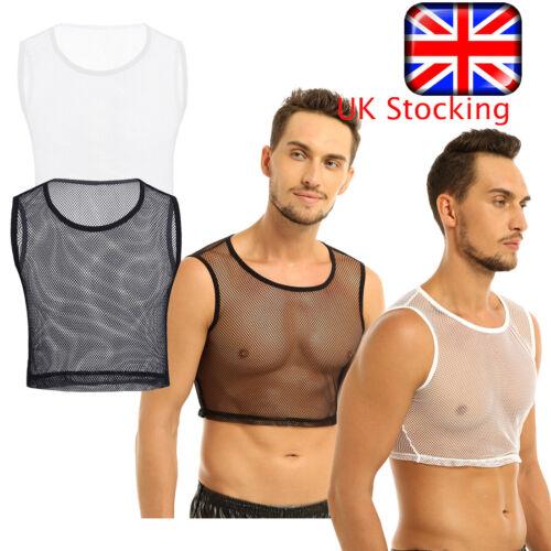 UK Mens Fishnet Mesh See Through T-shirt Sleeveless Short Tops Undershirt Vests