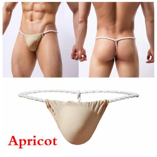 Men Faux Silk Thongs G String Japan Sumo Low Rise Underpants Bulge Pouch Briefs