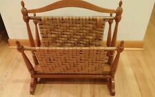 Vtg rare Berea College Woodcraft magazine rack hand crafted with woven cane