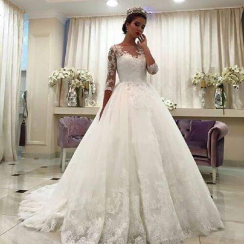 Vestidos de Novia White Wedding Dresses A Line Lace Bridal Gown 3//4 Sleeves New