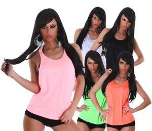 Sexy-Tank-Top-XS-S-M-rosa-weiss-gruen-schwarz-orange-locker-sitzend-Traeger-Shirt