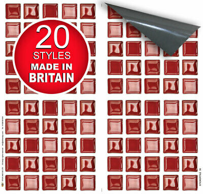 """Stick On Tile Transfer Stickers 6/""""x6/"""" Red Glass for Kitchen /& Bathroom Tiles"""