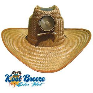 ff33de0368 Mens Kool Breeze Solar Cowboy Hat,Straw hat,Cowboy hat,Solar Cooling Hat,  Solar   eBay