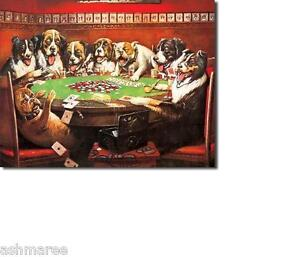 Bar Games Room Retro Tin Wall Sign Dogs Playing Poker / Cards