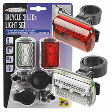Front & Back 3 LED Bike Safety Waterproof Light Set Rear Tail Backlight Flashing