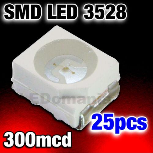 188//25# LED rouge CMS SMD PLcc2 3528-25pcs---300mcd RED