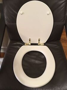 Swell Details About Porcher 70122 00 071 Round Front Toilet Seat Biscuit With Polished Brass Hinges Lamtechconsult Wood Chair Design Ideas Lamtechconsultcom