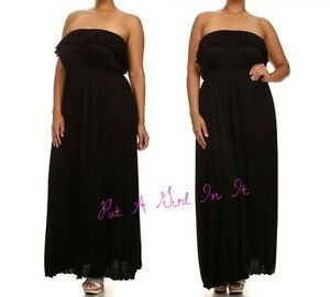 Details about PLUS SIZE SOLID BLACK TUBE SLEEVELESS BOHO RUFFLE MAXI DRESS  XL 1X 2X 3X