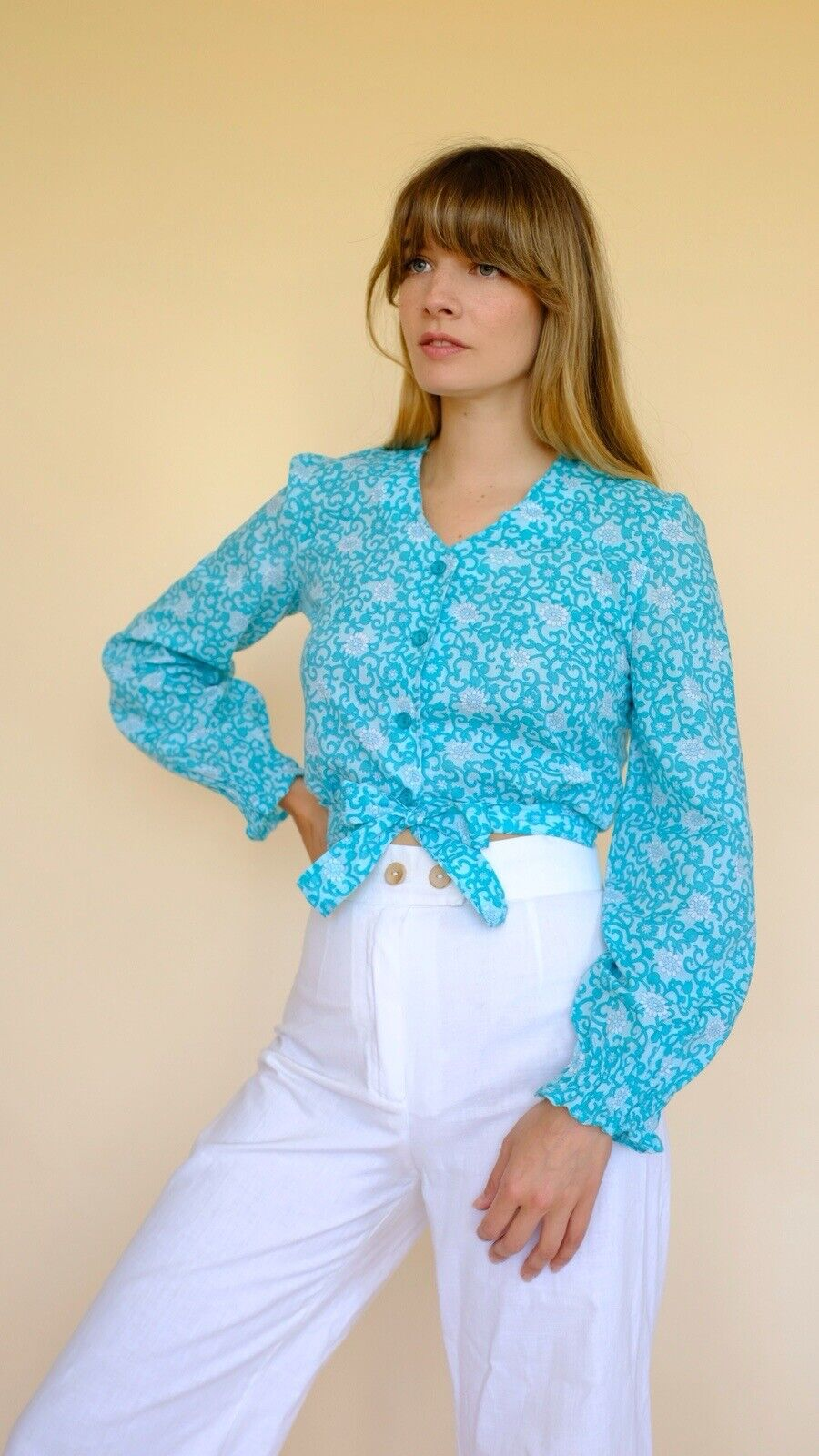 Vintage 60s/70s Blue Floral Print Blouse Top Shirt Bell Sleeve Liberty 6 8