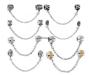 925-Sterling-Silver-SAFETY-Chain-Stopper-Charm-Bead-For-European-Snake-Bracelet