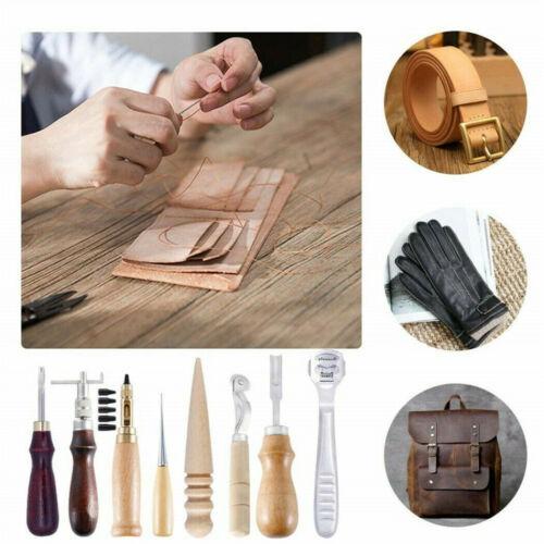 18tlg Leder Werkzeug Ledernadeln Lederhobel Nähen Locher Schnitzen Stitching Set