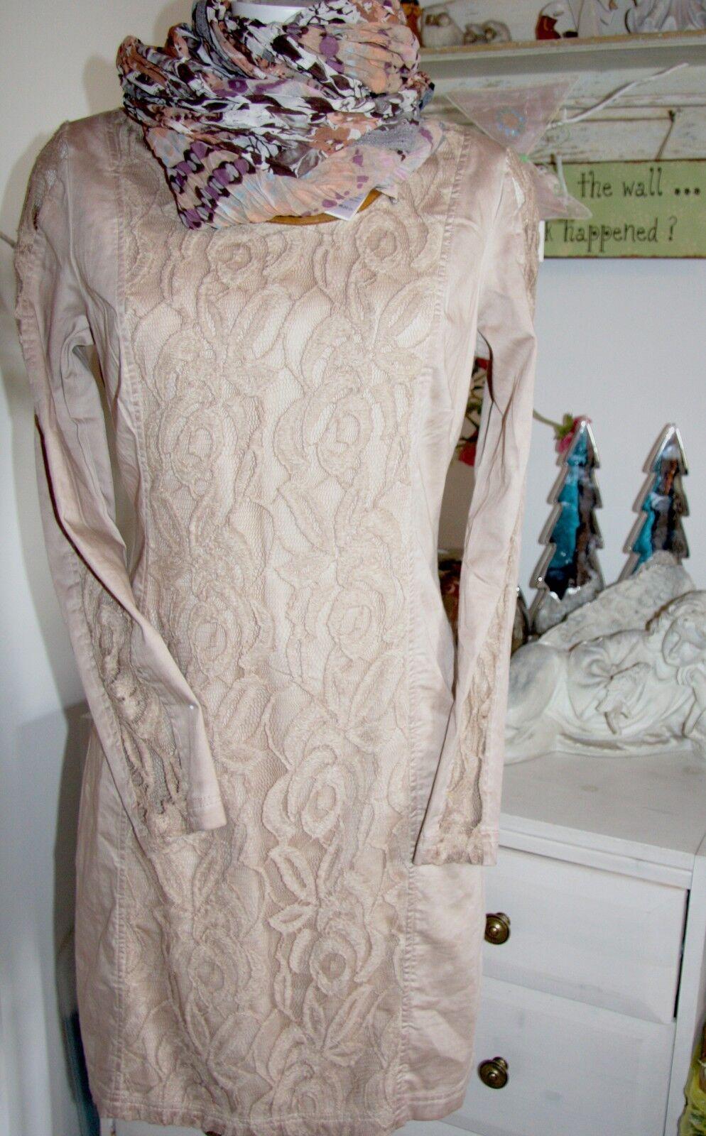 Cream DK Tunika Kleid Lace Peach Blaush Langarm Größe  36 Neu