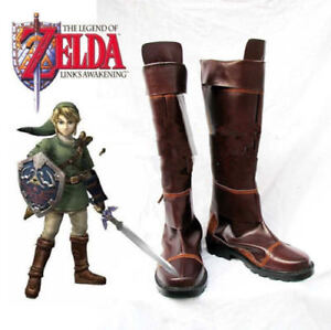 Image is loading New-The-Legend-of-Zelda-Link-Anime-Brown-  sc 1 st  eBay & New The Legend of Zelda Link Anime Brown Costume Shoes Cosplay Boots ...