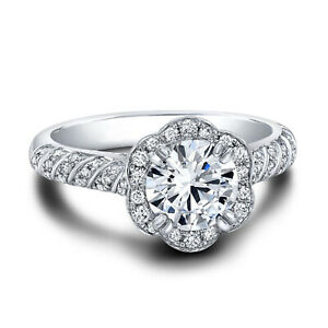 1.12 Ct Round Moissanite Engagement Superb Band Set Solid 18K White Gold Size 8