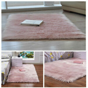 Details About Pink Large Faux Sheepskin Fur Rug Fluffy Mat Bedroom Carpet Area Rugs Washable
