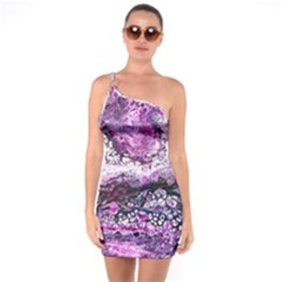 PURPLE Exclusive OriginalDesigner1SHOULDER RING BODYCON DRESS Size Med10-12uk