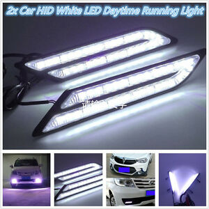 2-Pcs-Universal-HID-White-High-Power-Blade-Shape-LED-Light-Car-DRL-Daytime-New