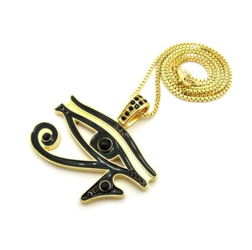 """XTP59BX NEW ICED OUT EYE OF HORUS PENDANT /& 24/"""" BOX CHAIN HIP HOP NECKLACE"""