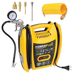 Powerplus-Druckluft-Kompressor-8-bar-Reifendruckpistole-Duesen-PU-Schlauch