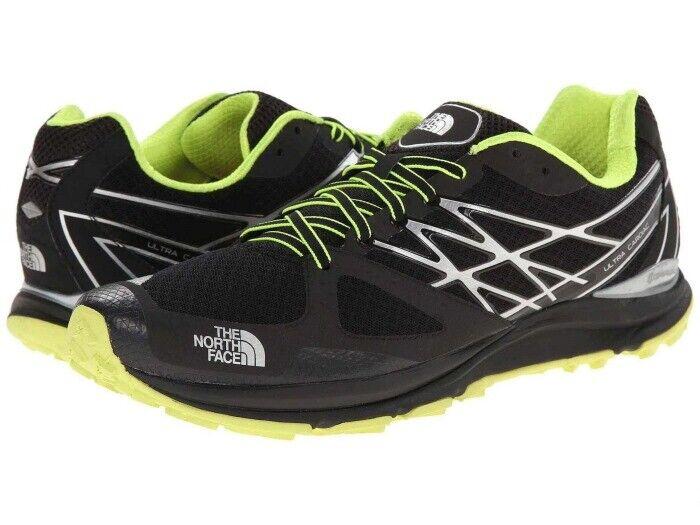 The North Ultra cardiaca Trail Zapatos hombres Face's Talla 12.5 (D), Negro Amarillo, Nuevo