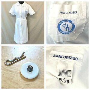 Vtg Snowhite Nurse Uniform Dress SJH School of Nursing Sanforized MOP Shank DS17