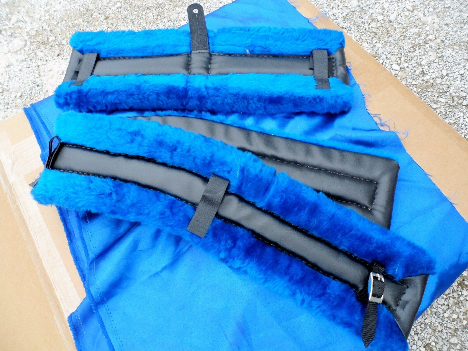 Horse or Mule Fleece Harness Saddle & Breast  Collar Pads Set Amish Made blueE  clearance