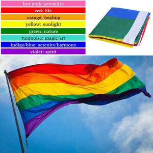 3x5ft-Rainbow-Flag-Polyester-Flag-Gay-Pride-Lesbian-Peace-LGBT-With-Grommets-New