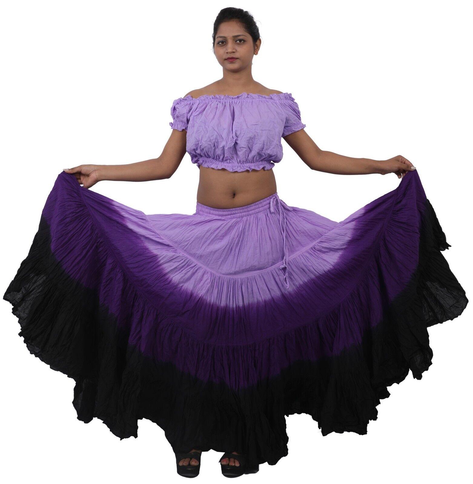LPB Cotton Belly Dance Tribal Gypsy 4 Tier 25 Yard Skirt Jupe Boho