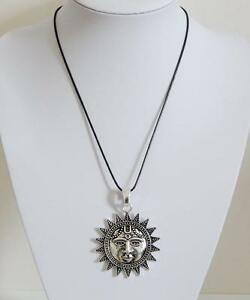 Leather cord necklace antique silver sun pendant boho chic ebay image is loading leather cord necklace amp antique silver sun pendant mozeypictures Image collections
