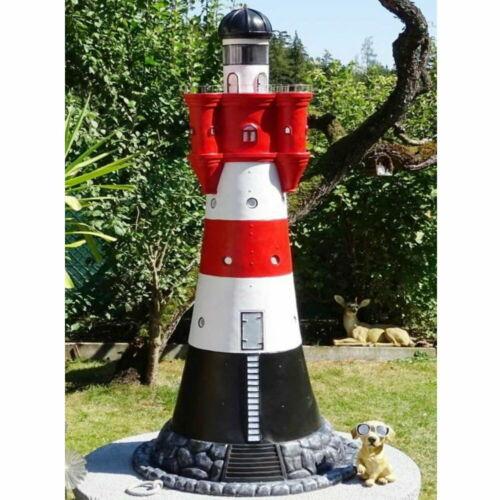 """XXL Leuchtturm /""""Nordsee/"""" Premium 140 cm hoch rot//weiß Beleuchtung Garten Deko"""
