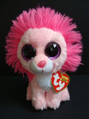 "NWT TY Beanie Boos FLUFFY 6"" Lion Pink Plush Valentine's Boo Cat Purple Eyes NEW"