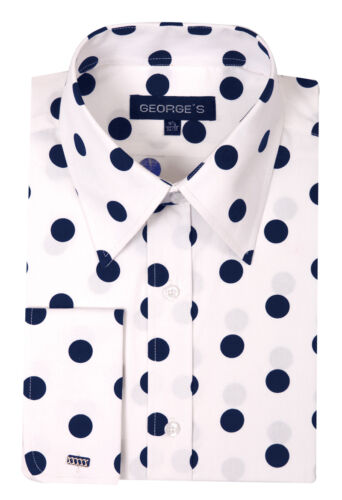 100/% cotton men/'s dress shirt Big Polka Dot Spread Collar By George AH 616