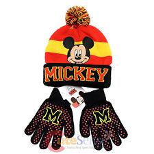 Disney Mickey Mouse Boys Beanie Gloves Set - College Stripe Cuff  Black