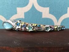 LONG BABY BLUE TURQUOISE FLORAL SWIRL RHINESTONE HAIR CLIP