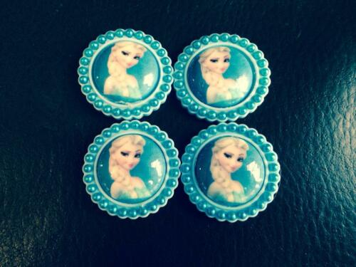 4 x ELSA FROM FROZEN 35MM FLAT BACK RESIN WITH ADDED PEARL HEADBAND BOW CENTRE