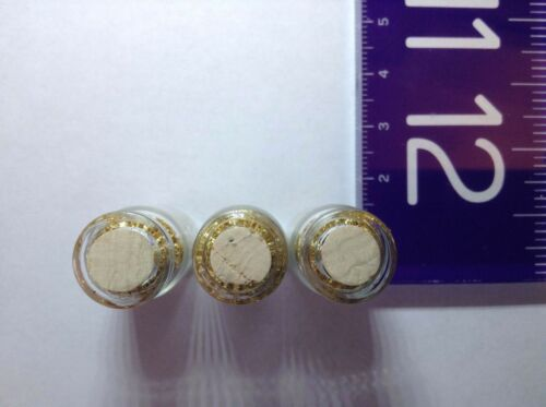 3 NEW Large SIZE vials of Gold Leaf//Flakes 32mm x 14mm glass vial with cork.