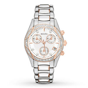 Bulova Women's 98R149 Anabar Chronograph Rose Gold Stainless Steel Dress Watch