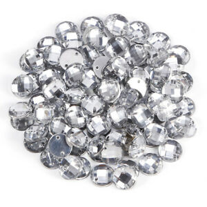 766928a24551 Image is loading 100x-Clear-Round-Faceted-Beads-Acrylic-Rhinestones-Gems-