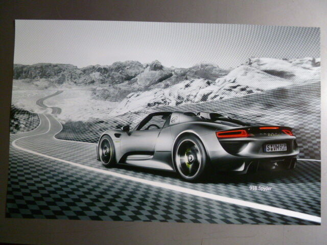 2014 Porsche 918 Spyder Supercar Showroom Advertising Poster RARE! Awesome L@@K