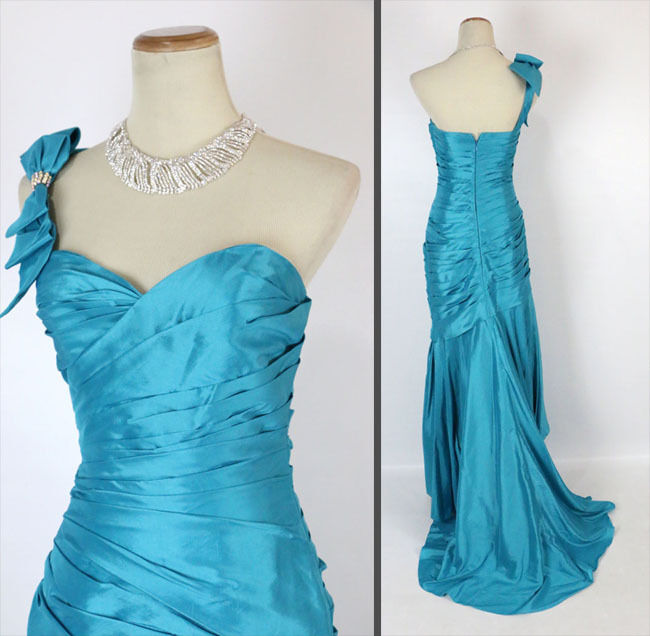 NEW Jovani Size 0 Turquoise Prom Formal 1 Shoulder Long Gown  Mermaid Cruise
