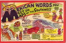 MEXICAN WORDS YOU MEET ON MAPS OF THE SOUTHWEST Manning TravelCard No. 29 C 1943