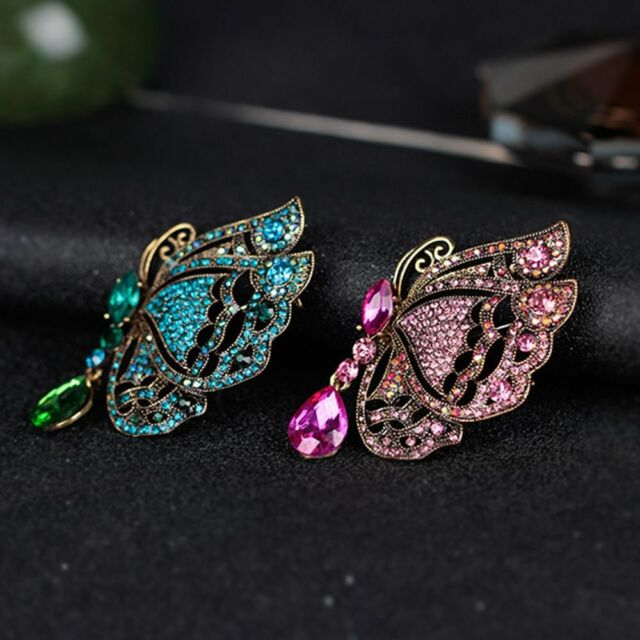 Creative Rhinestone Butterfly Insect Shape Brooch Pin Female Jewelry Gifts